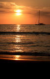 заход солнца шлюпки Стоковое Изображение RF
