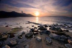 заход солнца Эгейского моря Стоковые Изображения RF