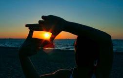 заход солнца 2 захватов Стоковое фото RF