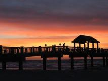 заход солнца 60 пристаней стоковое фото rf
