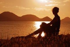заход солнца Стоковая Фотография RF