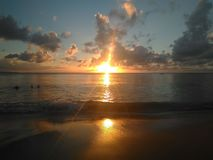 Заход солнца Aguadillia Пуэрто-Рико стоковое изображение rf