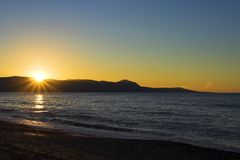 заход солнца akamas прибрежный полуостровной Стоковое фото RF