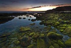 заход солнца algarve Португалии Стоковое Изображение RF