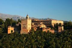 заход солнца alhambra Стоковые Изображения RF