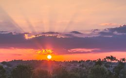 Заход солнца Andalucian испанского языка Стоковые Изображения RF