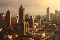 Заход солнца Atlanta's золотой Стоковое Изображение