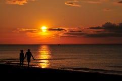 заход солнца Atlantic Ocean Стоковые Изображения