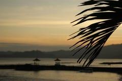 заход солнца bali Индонесии Стоковые Изображения RF