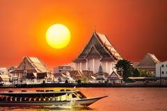 заход солнца bangkok Стоковая Фотография