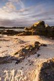 заход солнца beachscape стоковые изображения rf