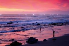 заход солнца beachview Стоковое Изображение RF