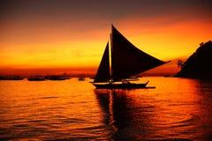 заход солнца boracay стоковое изображение rf