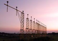 заход солнца brussels авиапорта стоковое фото rf