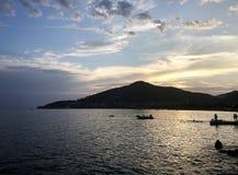 Заход солнца Budva- на море стоковая фотография