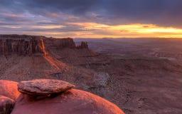 Заход солнца Butte соединения стоковые фото