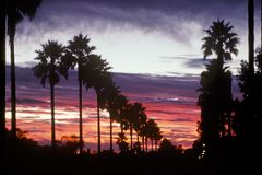 заход солнца california классицистический южный Стоковое Фото