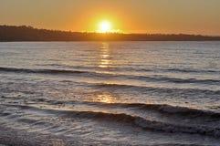 заход солнца california Монтерей залива Стоковые Изображения RF