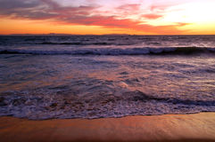 заход солнца california пляжа Стоковая Фотография RF