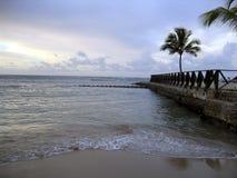 заход солнца caribbean пляжа Стоковая Фотография RF