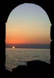 заход солнца cefalu Стоковое Изображение
