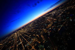 заход солнца chicago Стоковое Изображение RF