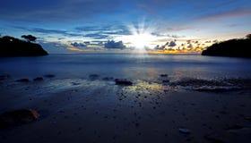 заход солнца curacao Стоковое Фото