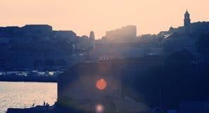 заход солнца dubrovnik Стоковая Фотография RF