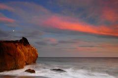 заход солнца el матадора пляжа стоковые изображения