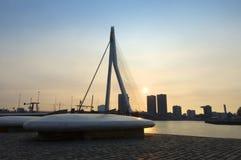 заход солнца erasmus моста Стоковая Фотография RF