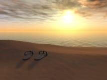 заход солнца flops flip пляжа стоковая фотография rf