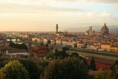 заход солнца florence Италии Стоковая Фотография RF