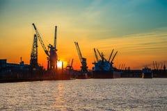 заход солнца gdansk гаван Стоковое Изображение RF