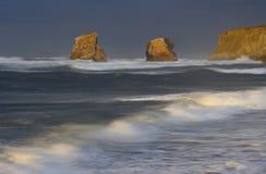 заход солнца hendaye Франции пляжа Стоковое фото RF