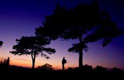 заход солнца hiker Стоковое Изображение RF