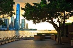 заход солнца Hong Kong Стоковые Изображения
