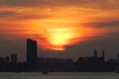 заход солнца Hong Kong Стоковые Фотографии RF
