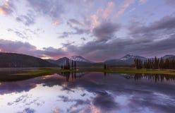 Заход солнца iat озера искр Стоковое фото RF