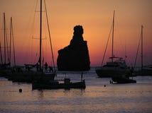 заход солнца ibiza стоковая фотография