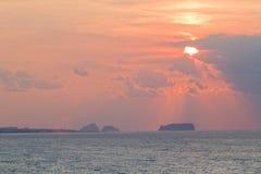 заход солнца jeju острова Стоковая Фотография RF