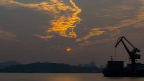 Заход солнца Jiaojiang Стоковое Изображение