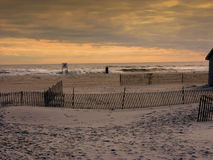 заход солнца jones пляжа ny стоковые фото