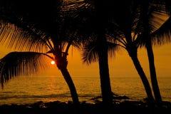 заход солнца kona Стоковое Изображение RF