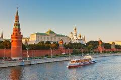 заход солнца kremlin moscow Стоковое Изображение RF