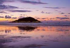 заход солнца la donostia concha залива Стоковое Изображение