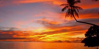 заход солнца leela пляжа Стоковые Изображения