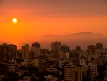заход солнца lima Стоковая Фотография