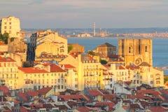 заход солнца lisbon Португалии Стоковая Фотография RF