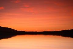 заход солнца loch стоковая фотография rf