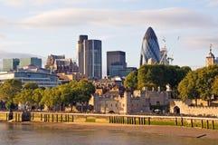 заход солнца london городского пейзажа самомоднейший Стоковые Изображения